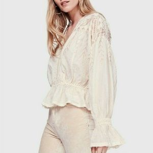 NEW Free People Counting Stars peasant top XS